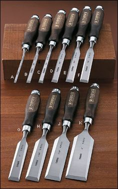 Narex® Classic Bevel-Edge Chisels. Good chisels, reasonable price. The full set of 10 bench chisels a real bargain at $119. Fine Woodworking says these have good steel. More chisels at a much lower price than Stanley Sweetheart set. These would be a good set to do any size dovetails. OK, I have now found a few that are the favorite sizes, the rest are honed and in the tool chest. Like a bike, get all the gears but learn which are usually used.