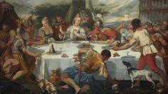 Ecole VENITIENNE du XVIIIème siècle, entourage de Gaetano ZOMPINI  Le banquet de Cléopâtre Toile 114 x 198,5 cm