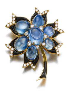 Sapphire, onyx and diamond brooch, Bulgari:  Of floral design set with cabochon sapphires, polished calibré-cut onyx and brilliant-cut diamonds, signed Bulgari, French assay and maker's marks, onyx segment deficient.