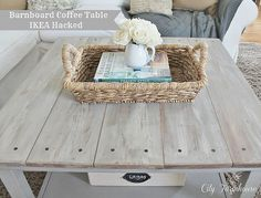 DIY::IKEA Hacked Barnboard Coffee Table Tutorial- use $8 tables and them let wood hang over edges a bit