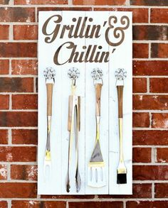 Let this handy sign do double-duty as cute backyard artwork and a safe spot to hang grilling utensils when not in use.Get the tutorial at Lil' Luna.