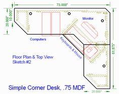 Simple Corner Desk top view -- http://woodwaredesigns.com ...