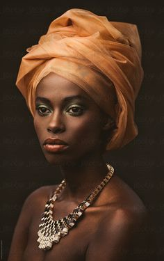 Beauty portrait of an African woman wearing an orange turban. Beauty portrait of an African woman wearing an orange turban. Beauty Portrait, Female Portrait, Female Art, African Girl, African Beauty, African Style, African Men, African Attire, African Dress