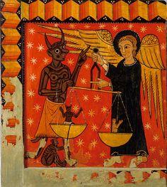 Jugement particulier de l'âme, Parements latéraux d'autel, vallée de Ribes, Ripollès, Catalogne, Maître de Soriguerola, fin du XIIIe siècle, Museu Episcopal de Vic