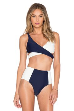 Lovers + Friends Wrap It Up Miami Top in Navy & Ivory