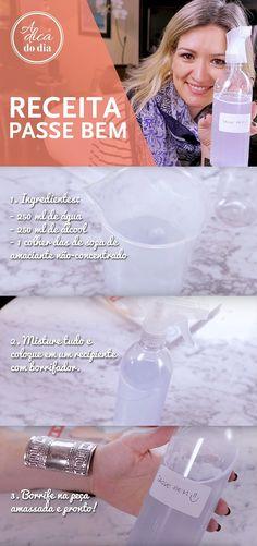 FAÇA O SEU PASSE BEM: Quem não ama uma roupa bem passada? Receita caseira simples para acabar com os amassados das suas roupas! A Flávia Ferrari ensina como fazer uma receita (com todos os segredinhos) para fazer um passe bem caseiro e facilitar seu trabalho de passar roupas em sua rotina doméstica. Esta receita de Passe Bem Caseiro é fácil de fazer e rende muito. Tudo muito simples. Basta misturar todos os ingredientes e, depois, colocar a mistura em um recipiente com borrifador. | #ADICADODIA Home Hand Care, Natural Cushions, Personal Organizer, Perfume, Home Hacks, Clean Up, E Design, Clean House, Handicraft