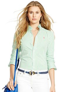 Polo Ralph Lauren Custom-Fit Striped Shirt - Polo Ralph Lauren Long Sleeve - Ralph Lauren Germany