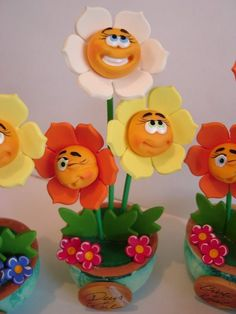 clay face fun foam flowers...adorable ideas on site