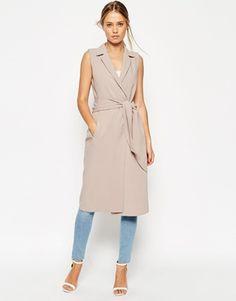 Платье-рубашка без рукавов с запахом и поясом ASOS
