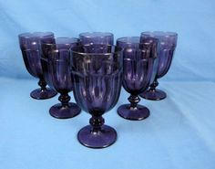 e85603b77157 6 LIBBEY DURATUFF GIBRALTAR Glass Goblets Amethyst Purple 16 oz. Iced Tea 7