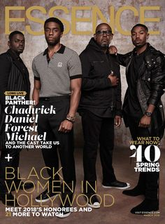 Chadwick Boseman & the Black Panther Cast on the March 2018 Cover of Essence Magazine