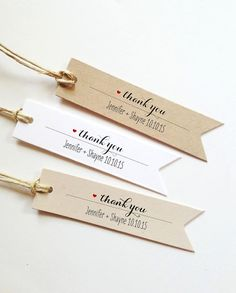 25 Custom Thank You Tags Wedding Favors Tags Custom by PrettyTape