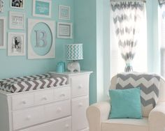 'Ojore's Aqua and Gray Chevron Nursery - Collage wall - elegant decor' I really wouldn't mind having this as my room:)
