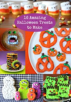 16 Amazing Halloween Treats to Make 16 Amazing Halloween Treats to Make great ideas for kids and for adults for school parties and more! Lots of easy options. Source by funlovingfamilies Halloween Treats To Make, Halloween Goodies, Halloween Food For Party, Spooky Halloween, Holidays Halloween, Vintage Halloween, Halloween Crafts, Happy Halloween, Halloween Decorations