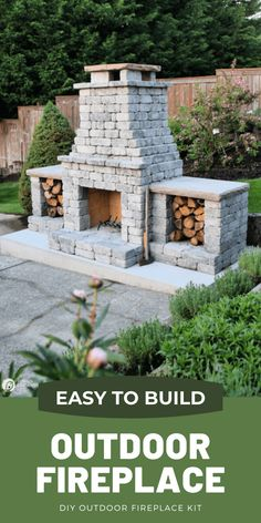 How to build an outdoor fireplace with a kit. Easy to build stacked stone DIY Fireplace project. See more on TodaysCreativeLife.com Build Outdoor Fireplace, Outside Fireplace, Backyard Fireplace, Diy Fireplace, Backyard Patio, Backyard Landscaping, Outdoor Fireplaces, Backyard Ideas, Garden Ideas