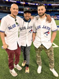 Ryan Goins, Marcus Stroman and Kevin Pillar Blue Jay Way, Go Blue, Kevin Pillar, Baseball Guys, Softball, Marcus Stroman, Hockey, Basketball T Shirt Designs, Man Crush Everyday
