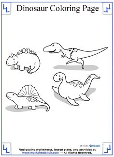Tiny Dinosaurs Coloring Page