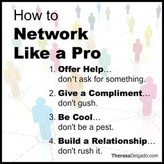 Networking Can Open Up Doors For You...However It Can Also Close Doors If Done Incorrectly - Practice these 4 tips regularly and watch your business grow! And here's How to Network Like A Top Performer [A CompleteTutorial] >> http://theresadelgado.com/networking-tips/ #SalesTips #CareerChange #Networking