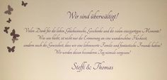 Dankeskarte von Steffi & Thomas an Maria Best Music, Thanks Card, Cards, Wedding