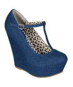 Look at this #zulilyfind! Blue Denim Buckle Cilo Wedge by Breckelle's #zulilyfinds