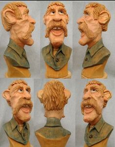 Pete LeClair caricature. What a great carver! A young man walked in on a class we were having. The next day Pete had carved a caricature of the guy, beard, hat and expression.