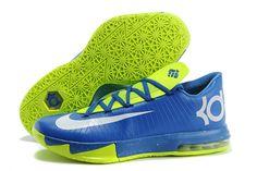 """Superhero"" Nike Zoom KD 6 In Game Royal/Metallic Silver & Lime Green Design Mens Shoes"
