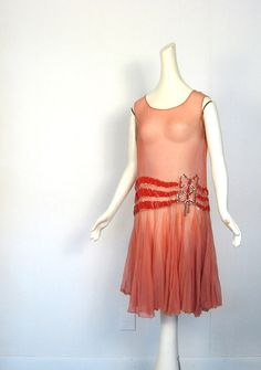 1920s Flapper Dress / Red Velvet and Rhinestones