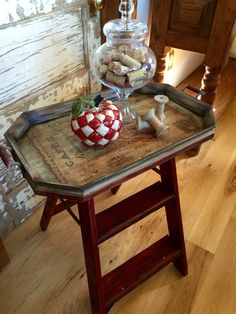 Side~Accent~End~Table~Nightstand~Serving Tray~Shelf~Kitchen~Bedroom~Living Room~Industrial~Weathered~Steampunk~Vintage~Ladder~Hand Painted