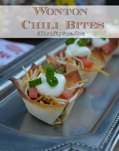 Wonton Chili bites, quick and easy snack ideas for the superbowl or any party.  Made with Hurst's Hambeens chili