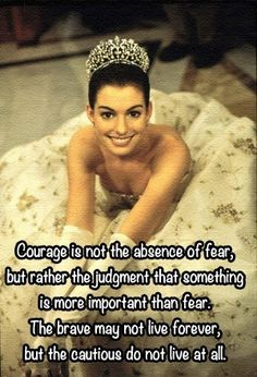 Courage is not the absence of fear, but rather the judgement that something is more important than fear. The brave may not live forever but the cautious do not live at all. - The Princess Diaries
