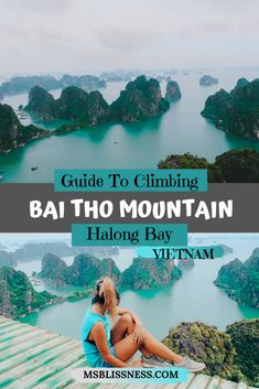 Halong Bay is one of the most breathtaking destinations in Vietnam - offering beautiful landscape and incredible views. For the best view in Halong Bay you should climb Bai Tho Mountain (Poem Mountain) You can find out how by reading my Guide To Climbing Bai Tho Mountain right there #vietnamtravel #baithomountain #poemmountain #halongbay #halongbayviews