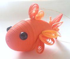 Orange Goldfish Ornament Koi Fish in Bright Orange by Wintergreen Design