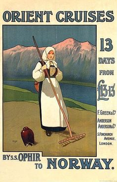 Poster by John Hassall - Orient Cruises to Norway - 64x100,5, ca. 1920, on linen by John Hassall (1868-1948)