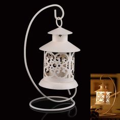 Iron Moroccan Style Lantern Candlestick Candle Holder White and Black