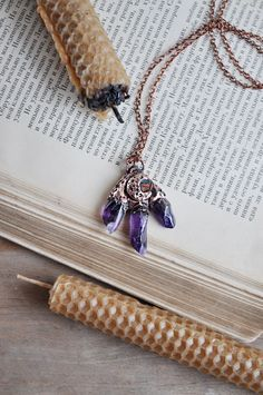 Electroformed amethyst necklace, crystal pendant, crescent moon jewelry, copper…