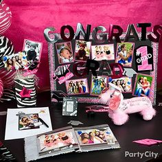 graduation photo board party ideas | Pink & Zebra Graduation Party Ideas - Party City