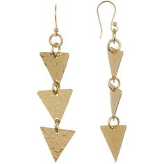 SOKO Hamsa Layered Triangle Drop Earrings ($25) ❤ liked on Polyvore featuring jewelry, earrings, brass, triangle jewelry, triangle drop earrings, layered jewelry, layered earrings and triangular earrings