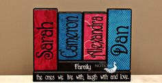 Housewarming Gift Personalized Family Wood Blocks Family Members Name on Wood Sign Home Decor Blocks Anniversary Gift Mothers Day Gift