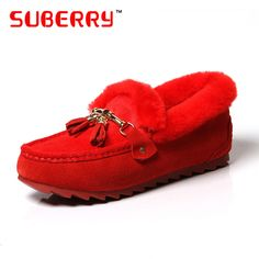 61.77$  Buy now - http://aliqge.worldwells.pw/go.php?t=32763739143 - SUBERRY Women 2016 Fashion Winter Shoes Woman Rabbit Fur Tassel Shoes Lady's Cotton-Padded Casual Outdoor Warm Red Black Loafers 61.77$