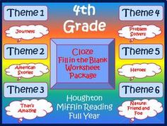 Cloze Worksheet Full Year Bundle for Houghton Mifflin Harcourt 4th Grade