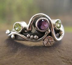 wild garden ring in sterling silver with natural by bddesigns, $196.00