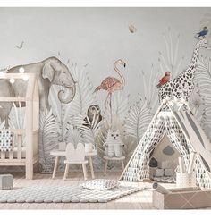 Cartoon Hand Painted Giraffe, Elephant , Owl Wallpaper, Tropical White Leaves and Flamingo Animals Nursery Kid Children Room Wall Murals Cartoon von Hand bemalt Giraffe Elefant Eule Wallpaper