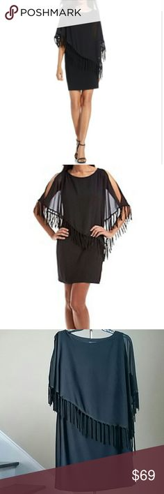🆕30% OFF BUNDLES 🎉 XSCAPE PARTY DRESS Gorgeous chiffon fringe popover dress from XSCAPE. Self 95% Polyester, 5% Spandex. Combination 100% Polyester. Lining 100% Polyester. Xscape Dresses