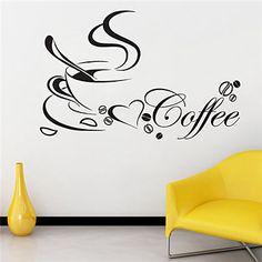 [NewYearSale]Still Life Wall Stickers Coffee Cup Pattern 40cm x 60cm JiuBai™ Wall Decal – USD $ 16.99