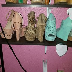 Wedges 3 different types all about 5 &1/2 inches tall 3 separate shoes priced at 15 each  firm this is not a bundle but can definitely bundle for you Shoes Wedges