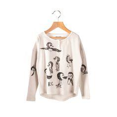 Camiseta Bobo Choses Pájaros Crudo. Una camiseta de manga larga muy original de color crudo y una ilustración de unos pajaritos que son muy divertidos.