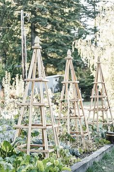 DIY French Tuteurs for the Garden Tutorial Woodworking Gardening Project Pyramid Obelisk Trellis The post DIY French Tuteurs for the Garden appeared first on Garden Easy. Potager Garden, Garden Trellis, Garden Beds, Garden Landscaping, Diy Trellis, Cedar Trellis, Tomato Trellis, Landscaping Melbourne, Tomato Cages