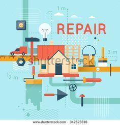 Home repair, home construction. Home improvement painting brush, measuring, laying masonry, cut. Flat design vector illustration
