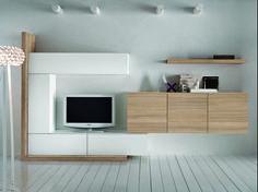 #soggiorno moderno componibile con finitura in #Legno naturale e #laccato