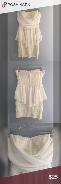 ModCloth Cream lace mini dress size M Sweetheart mini dress with lace layers and chiffon swooped across the chest. Zipper up the back and stretchy comfy material. Worn once for my bachelorette! Perfect for any occasion 👰🏼💍 ModCloth Dresses Mini